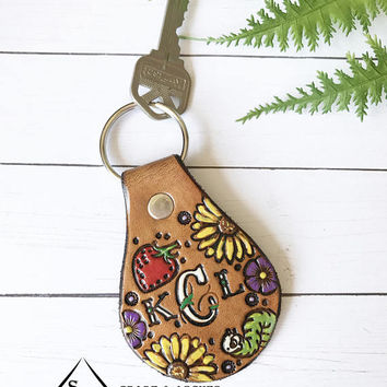 Monogram Leather Key Fob, Sunflowers Tooled and Stamped Leather, Western Cowgirl Leather, Painted Leather, Personalized Key Fob