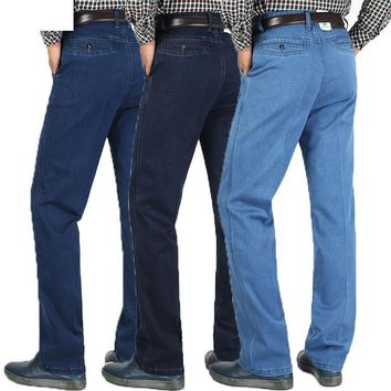New Arrival Winter Thick High Waist Casual Jeans Business Old Age Men High Quality Super Large Cotton Long Pants Size 29-38 40