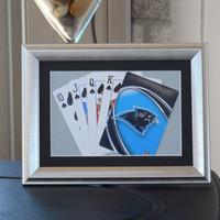 Carolina Panthers 5x7 Flush? Spades Authentic Playing Card Display Matted FRAMED NF2236