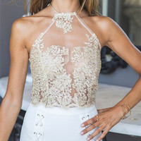 Halter Sleeveless Lace Vest Tank Top Cami