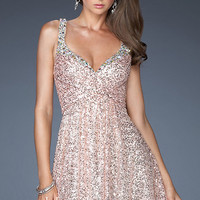 Short Sequin La Femme Dress 19096