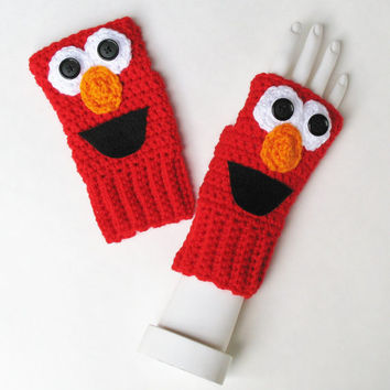 Sesame Street ELMO Wristwarmers, Ready to Ship