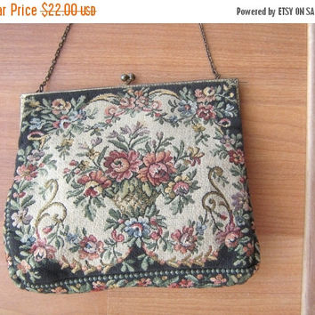 SALE Walborg Tapestry Handbag made in France vintage 1940