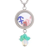 MJartoria Living Memory Floating Adjustable Locket Necklace with Charms and Matching Chain