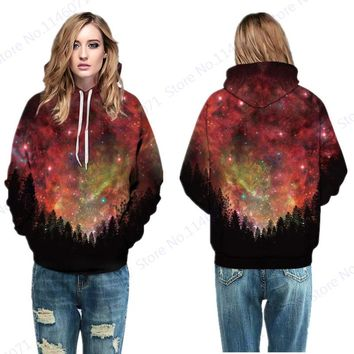 Red Space Galaxy Harajuku Jumper Pullover Tops Starry Night Sky In Forest Skateboard Sweatshirts Autumn Winter Hoody Hoodie Lady