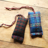 patchouli sachet  - balsam sachet - rustic - woodsy - gift under 20 - air freshener - car freshener - plaid - wool