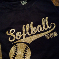 Casual Unisex Navy Blue & Gold T-Shirt, Customized with GLITTER, for any Softball Mom.
