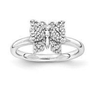 Sterling Silver Stackable Expressions Diamond Butterfly Ring