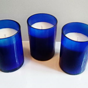Liquor Wicks Candle Bundle Pack- The Blues- 3 Gorgeous Cobalt Blue Wine Bottle Candles