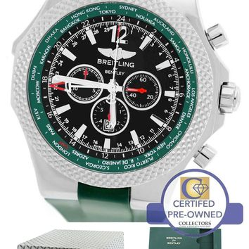MINT Breitling Bentley GMT British Racing Green Black A47362 Chronograph Watch