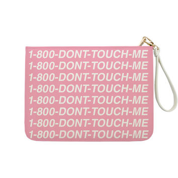 1-800-Dont-Touch-Me Funny Parody - 7x9 in Faux Leather Handbag - Clutch - Pouch - AGB-008-FULL