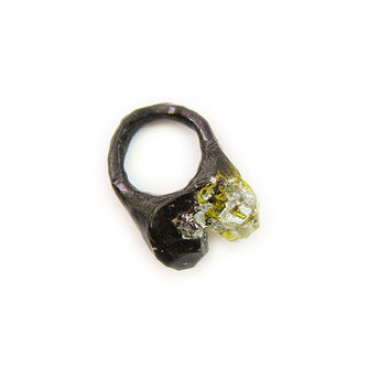 Midnight Shimmering Black Resin Moss Ring with Silver Leaf Inclusions • Nature Science Ring • Geometric Moss Resin Ring • Specimen Ring