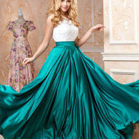Emerald green maxi dress, lace sleeveless dress, summer evening dress, wedding guest dress blue, romantic dresses, formal evening dress 2016