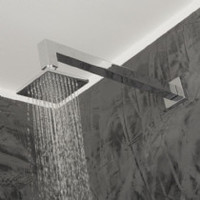 Wall-Mount Tilting Square Rain Shower Head W/ 64 Rubber Nozzles