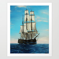 Bounty Ship Art Print by Claire Lee Art