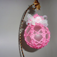 Crochet Covered Christmas Ornament - Pink over frosted glass w/white trim