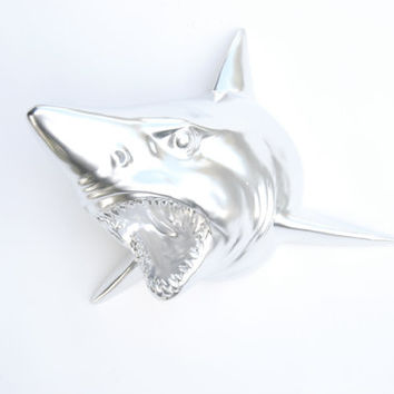NEW Chrome Shark Wall Mount - Faux Taxidermy SH13