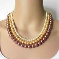 Bridesmaids Jewelry Ombre Pearl Necklace Pearl Multistrand Ivory Gold Bronze Beaded Wedding Jewelry Bridesmaids Necklaces