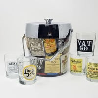 Mid Century Bar Set Chrome Insulated Ice Bucket with Whiskey Labels Set of Five Scotch Label Glasses