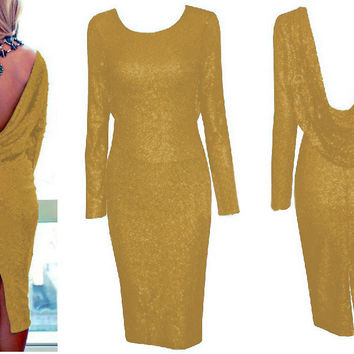 Yellow Long Sleeve Cowl Back Sequined Bodycon Midi Dress with Back Slit