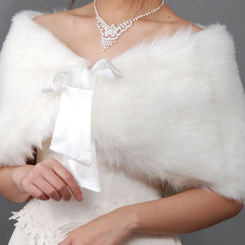 Wedding Bride Cape Winter Bride Thermal Fur ribbon Shawl For Bolero Women Wedding Coat Ivory new = 1929910532