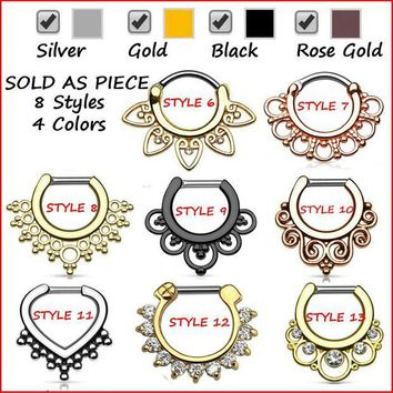 ac DCCKO2Q G23 Titanium Tribal Fan Real Septum Clicker Piercing Septo Nose Ring Jewelry 16g Silver Black Rose Gold Cartilage Earrings