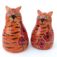 Orange Tabby Cat Salt and Pepper Shakers