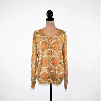 Sparkly Gold & Orange Print Cardigan Sweater Womens Cardigan Fall Cardigan Metallic Plus Size Cardigan Large XL Talbots Womens Clothing