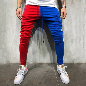 Men Gym Slim Fit Trousers Tracksuit Bottoms Striped Skinny Joggers Sweat Pants