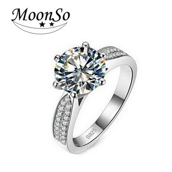 Moonso Fashion Plated AAA Zircons 5 carat 9mm cz diamond Engagement O Finger anel aneis the Rings for Women Wedding T0750