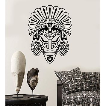 Vinyl Wall Decal African Mask Ethnic Style Room Africa Stickers Unique Gift (ig3888)