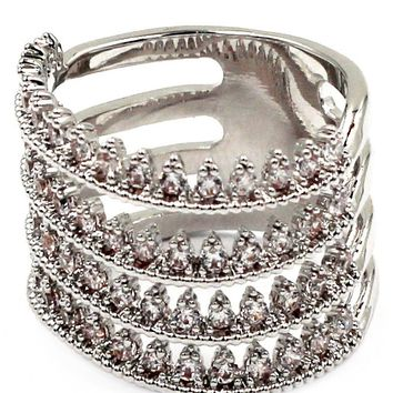 classy little crystal wave silver rings