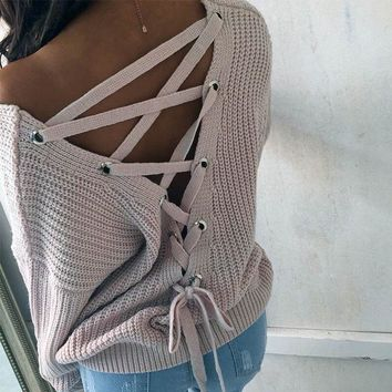 Round-neck Pullover Backless Knit Tops Sweater [22426419226]