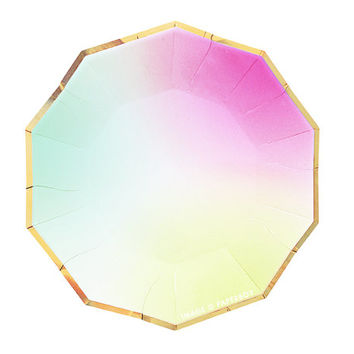 Toot Sweet Ombre Small Paper Plates by Meri Meri Modern Chic Pastel Rainbow Plates Hexagon / Light Pink Mint Green Yellow Gold Foil