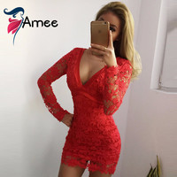 Women Dress 2016 Elegant Black Pink Red Bodycon Lace Dresses Sexy Backless Long Sleeve Evening Party Dresses vestidos