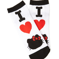 FOREVER 21 I Heart Hello Kitty Ankle Socks White/Red One