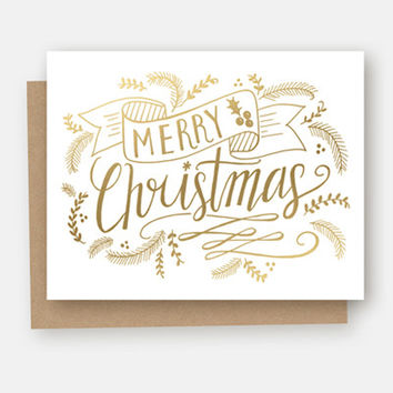 Merry Christmas Gold Foil - A2 Note Card