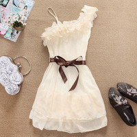 beige dress with single shoulder