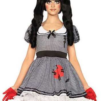 ESBI7E The 3PC. Wind-Me-Up Dolly, Dress w/Silver Turn Key, Bow, Headband in Black and White