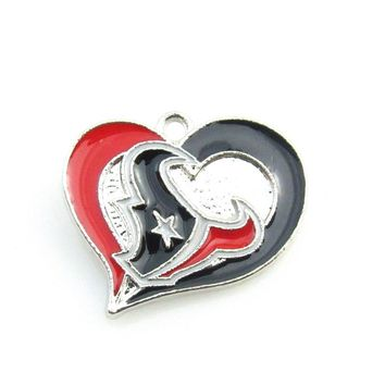 Newest Heart Houston Texans team logo Dangle pendant  Alloy Enamel Football Pendant necklace For DIY Sports Jewelry