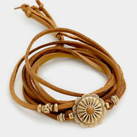 Leather Wrap Bracelet - Brown