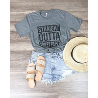 Distracted - Straight Outta Toilet Paper Funny Graphic Tee in Gray