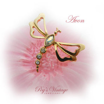 AVON Dragonfly Rhinestone Brooch / Tack Pin, Vintage Insect Jewelry, Summer Jewellery