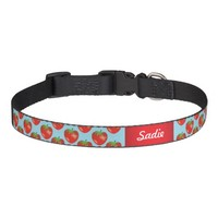 Strawberries Pattern On Blue And Custom Pet's Name Pet Collar