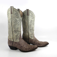 Cowboy Boots Vintage 1970s Gray Larry Mahan Shark
