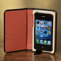 Little Black Book for iPhone4/4S with Hidden Pocket, Paprika interior Ships Priority Mail