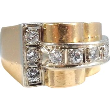18K solid gold heavy bridge ring Deco period Brilliant cut diamonds, Fine gold French jewelry