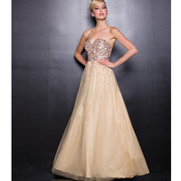 Gold Sequin Strapless Long Dress 2015 Prom Dresses