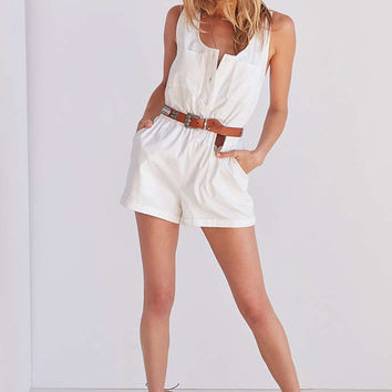 BDG Poplin Button-Through Romper - Urban Outfitters