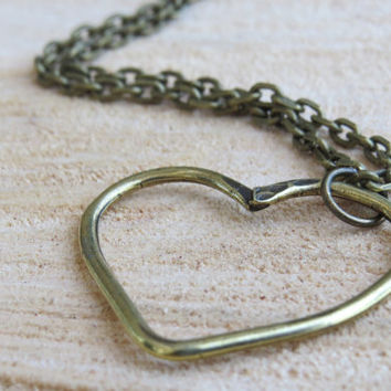 Heart necklace, Long necklace, Antique bronze, Love necklace, Heart pendant necklace,Bronze jewelry, Modern necklace, Jewelry gift